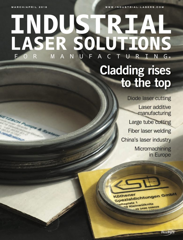 Industrial Laser Solutions for Manufacturing March April 2016 COVER