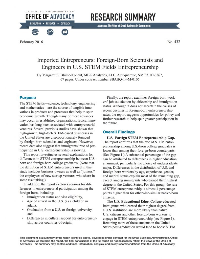 Imported Entrepreneurs: Foreign-Born Scientists and Engineers in U.S. STEM Fields Entrepreneurship