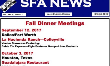 Southwestern Fastener Association (SFA) Newsletter, Spring 2017