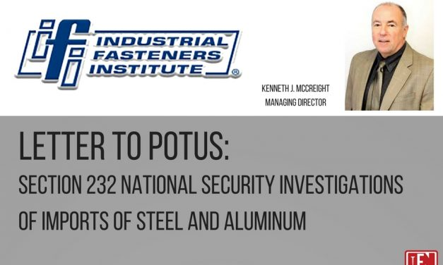 IFI Letter to POTUS: Section 232 National Security Investigations of Imports of Steel and Aluminium