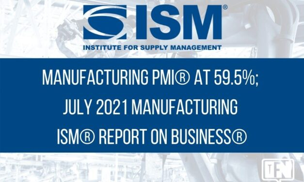 Manufacturing PMI® at 59.5%; July 2021 Manufacturing ISM® Report On Business®